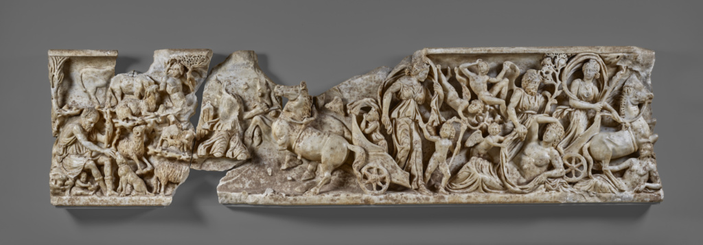 Front of a Sarcophagus with the Myth of Endymion; Unknown; Roman Empire; about A.D. 210; Blue-gray marble; 54.3 × 10.2 × 214 cm (21 3/8 × 4 × 84 1/4 in.); 76.AA.8; The J. Paul Getty Museum, Villa Collection, Malibu, California; Rights Statement: No Copyright - United States