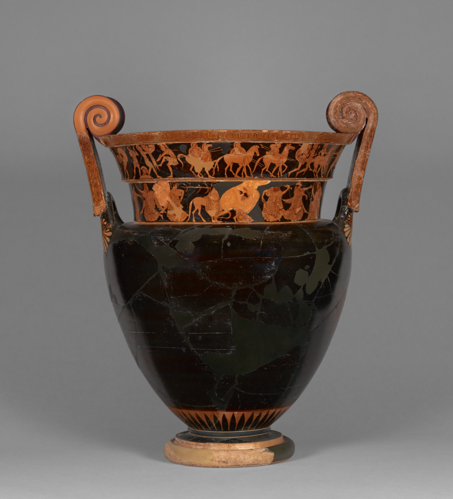 Attic Red-Figure Volute Krater; Attributed to Kleophrades Painter (Greek (Attic), active 505 - 475 B.C.); 500–480 B.C.; Terracotta; 56.9 × 46.9 cm (22 3/8 × 18 7/16 in.); 77.AE.11; Gift of Gordon McLendon; Rights Statement: No Copyright - United States