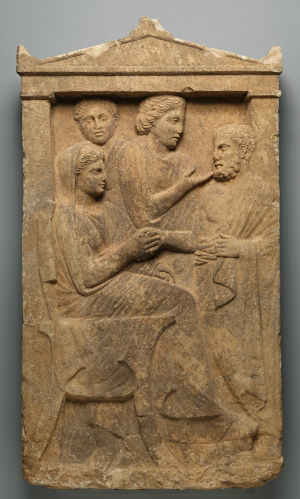 Grave Naiskos of Sime; Unknown; Attica, Greece; about 320 B.C.; Marble; 132.1 × 73.7 × 17.1 cm (52 × 29 × 6 3/4 in.); 77.AA.89; The J. Paul Getty Museum, Villa Collection, Malibu, California; Rights Statement: No Copyright - United States