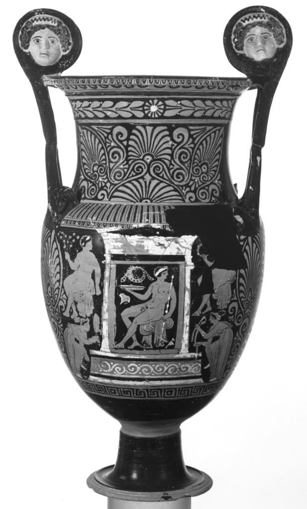 Apulian Red-Figure Krater with Mascarons; Baltimore Painter (South Italian (Apulian)); Apulia, South Italy; about 320 B.C.; Terracotta; 86 cm (33 7/8 in.); 77.AE.113; The J. Paul Getty Museum, Villa Collection, Malibu, California, Gift of Gordon McLendon; Rights Statement: No Copyright - United States