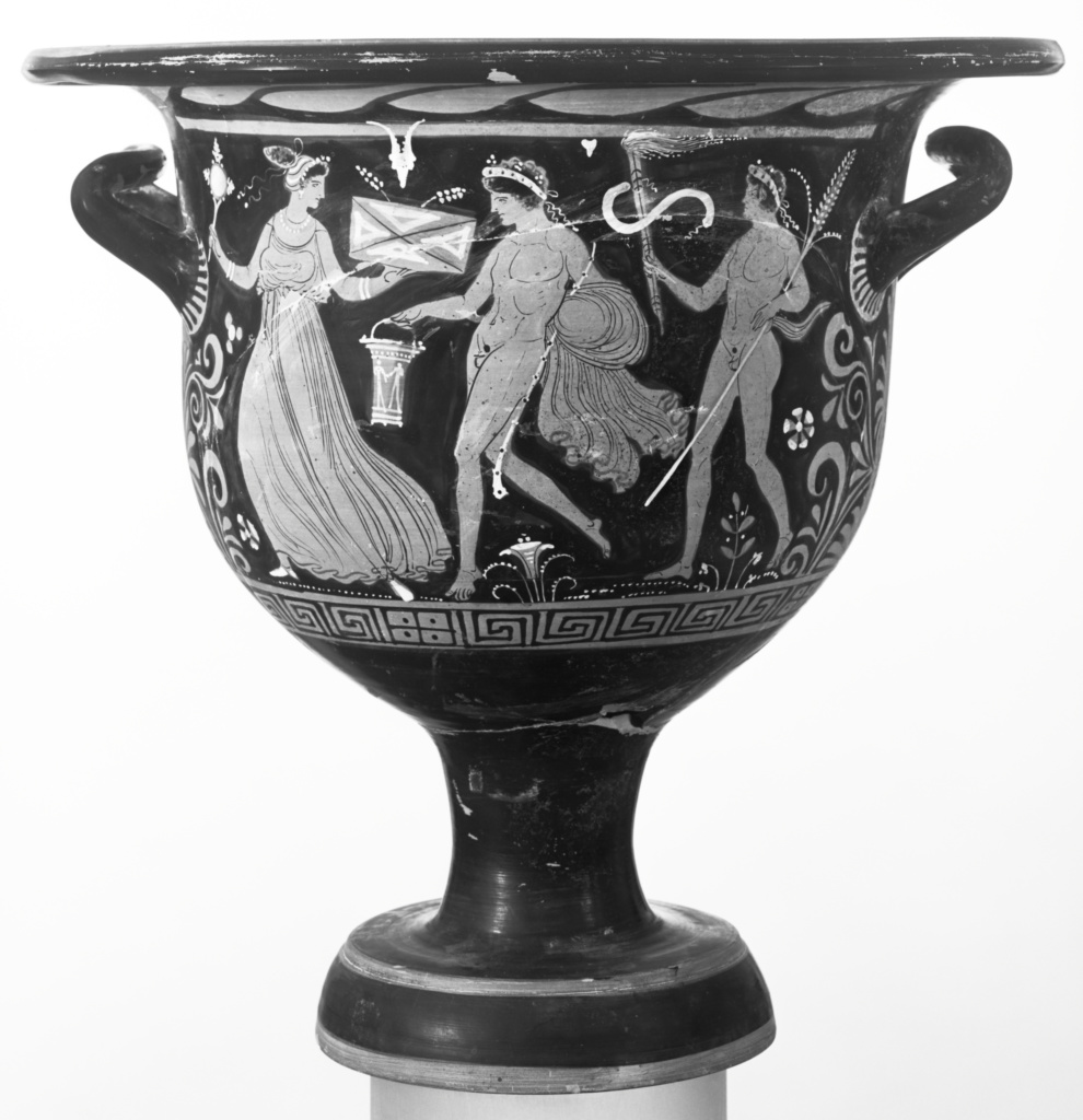 Apulian Red-Figure Bell Krater; Attributed to the Circle of the Patera Painter (Greek (Apulian)); Apulia, South Italy; about 330 B.C.; Terracotta; 42.2 × 44.7 cm (16 5/8 × 17 5/8 in.); 77.AE.116; The J. Paul Getty Museum, Villa Collection, Malibu, California, Gift of Gordon McLendon; Rights Statement: No Copyright - United States
