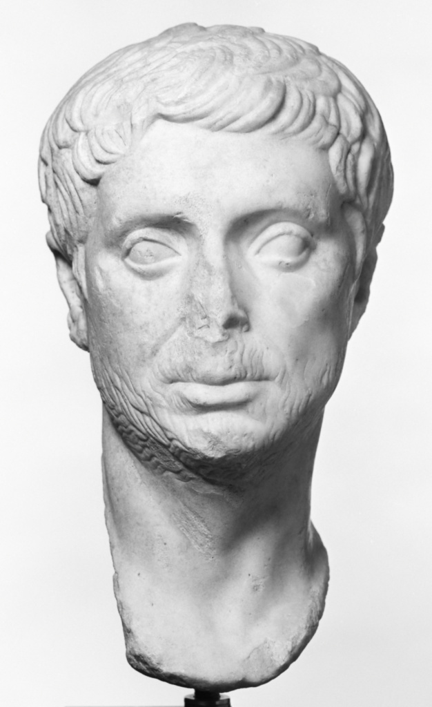 Portrait of a Man; Unknown; Roman Empire; late 1st century B.C.; Marble; 36.5 cm (14 3/8 in.); 78.AA.7; The J. Paul Getty Museum, Villa Collection, Malibu, California; Rights Statement: No Copyright - United States