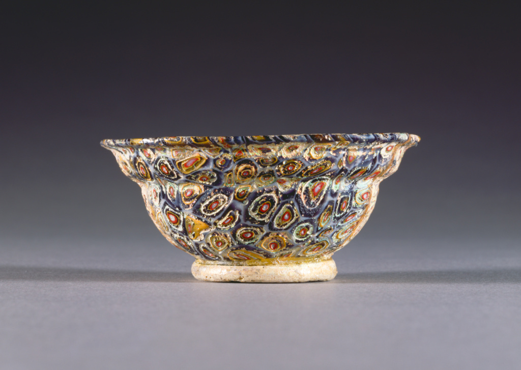 Mosaic Glass Bowl; Unknown; 1st century B.C.–1st century A.D.; Glass; 8.9 cm (3 1/2 in.); 78.AF.32; The J. Paul Getty Museum, Villa Collection, Malibu, California; Rights Statement: No Copyright - United States