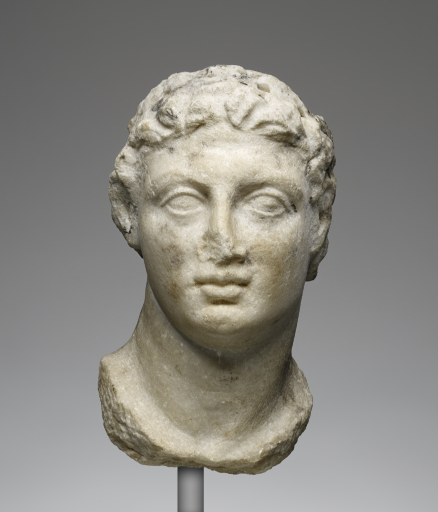Head of Ptolemy III; Unknown; Egypt; 246–222 B.C.; Marble; 16.8 × 9.1 × 11 cm (6 5/8 × 3 9/16 × 4 5/16 in.); 78.AA.257; The J. Paul Getty Museum, Villa Collection, Malibu, California, Anonymous gift in the name of the Antikenmuseum, Basel; Rights Statement: No Copyright - United States