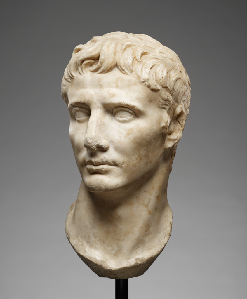 Portrait Head of Augustus; Unknown; Roman Empire; 25–1 B.C.; Marble; 39 × 21 × 24 cm (15 3/8 × 8 1/4 × 9 7/16 in.); 78.AA.261; The J. Paul Getty Museum, Villa Collection, Malibu, California; Rights Statement: No Copyright - United States