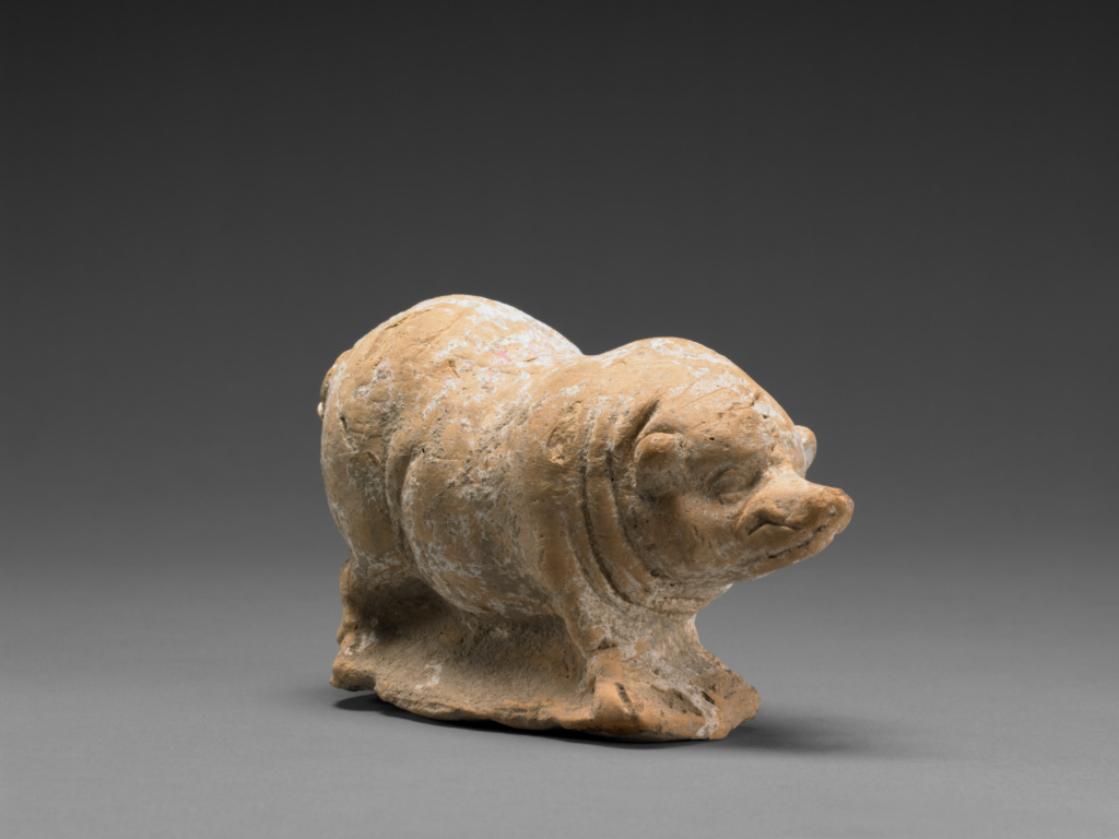 Rattle in the Shape of a Pig; Unknown; Centuripe, Sicily, Italy; 3rd century B.C.; Terracotta with traces of polychromy; 8.3 × 5.4 × 13.5 cm (3 1/4 × 2 1/8 × 5 5/16 in.); 78.AD.346; The J. Paul Getty Museum, Villa Collection, Malibu, California, Gift of David Collins; Rights Statement: No Copyright - United States
