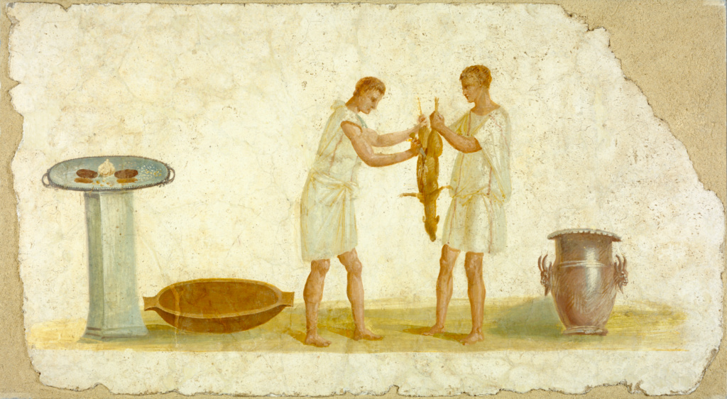 Fragment of a Fresco Panel with a Meal Preparation; Unknown; Italy; A.D. 1–79; Fresco; 69.5 × 127 × 3.5 cm (27 3/8 × 50 × 1 3/8 in.); 79.AG.112; The J. Paul Getty Museum, Villa Collection, Malibu, California; Rights Statement: No Copyright - United States
