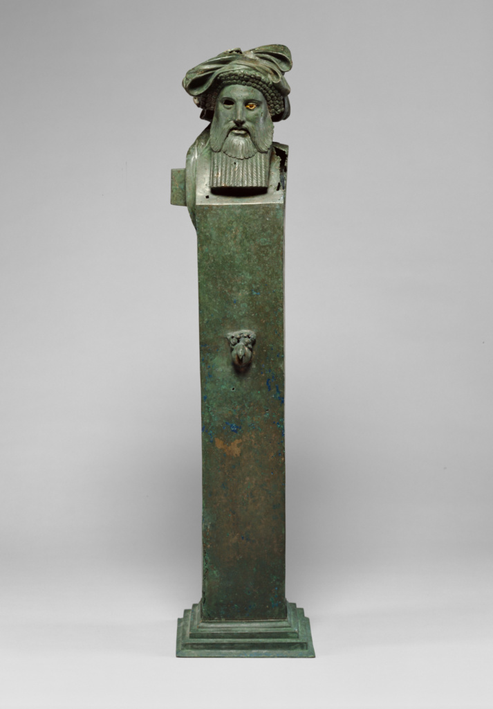 Herm of Dionysos; Attributed to the Workshop of Boëthos of Kalchedon (Greek, active about 200 - 100 B.C.); Asia Minor; 200–100 B.C.; Bronze, calcitic stone; 103.5 × 23.5 × 19.5 cm (40 3/4 × 9 1/4 × 7 11/16 in.); 79.AB.138; The J. Paul Getty Museum, Villa Collection, Malibu, California; Rights Statement: No Copyright - United States