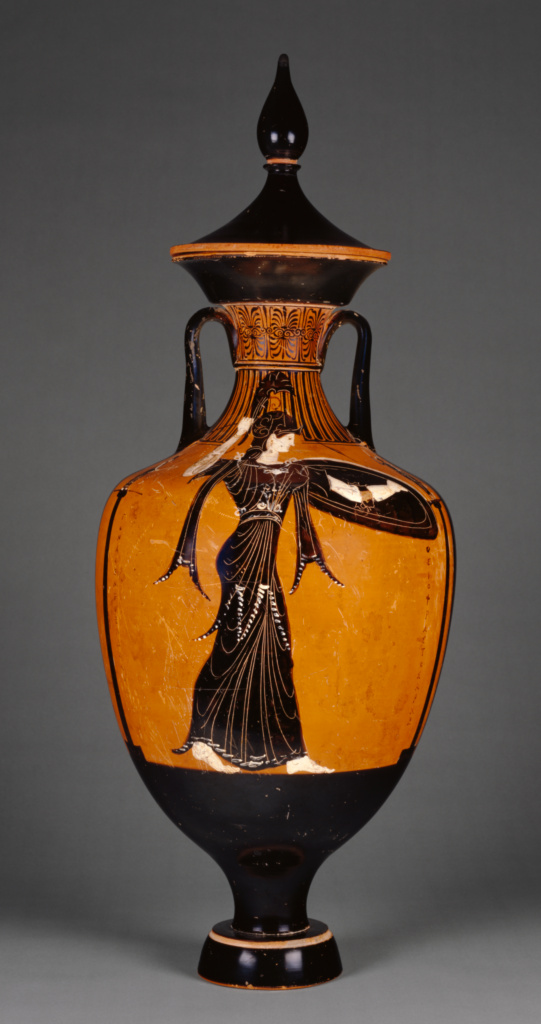 Attic Panathenaic Amphora with Lid; Attributed to the Marsyas Painter (Greek (Attic), active 370 - 330 B.C.); 340–339 B.C.; Terracotta; 78.5 × 39.2 cm (30 7/8 × 15 7/16 in.); 79.AE.147; Rights Statement: No Copyright - United States
