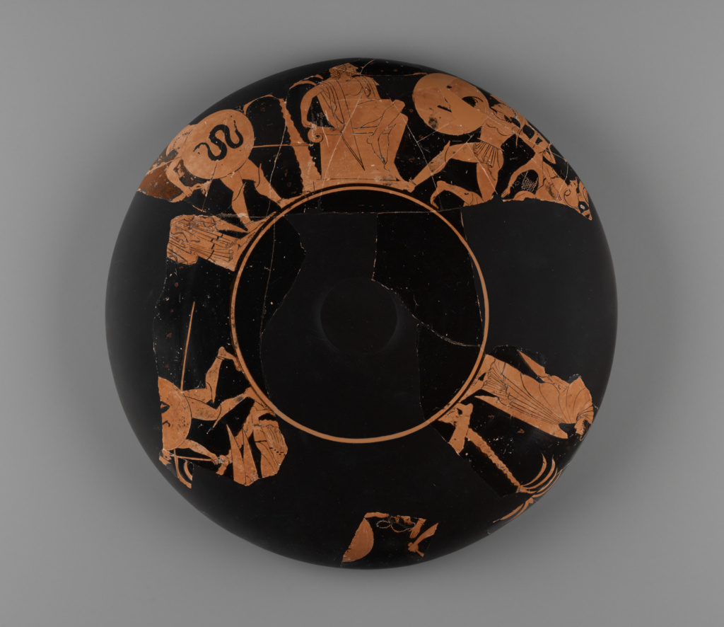 Fragmentary Attic Red-Figure Kylix; Attributed to Oltos (Greek (Attic), active about 525 - 500 B.C.); Athens, Greece; about 510 B.C.; Terracotta; 31.4 cm (12 3/8 in.); 80.AE.154; The J. Paul Getty Museum, Villa Collection, Malibu, California, Gift of Dr. R. Almirante; Rights Statement: No Copyright - United States