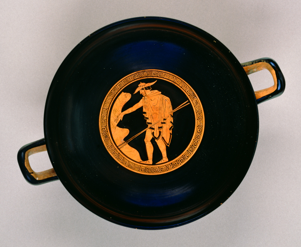 Attic Red-Figure Kylix; Attributed to Briseis Painter (Greek (Attic), active 510 - 470 B.C.); Athens, Greece; about 510 B.C.; Terracotta; 10.3 × 28.3 × 22.1 cm (4 1/16 × 11 1/8 × 8 11/16 in.); 82.AE.42; The J. Paul Getty Museum, Villa Collection, Malibu, California, Gift of Herbert L. Lucas; Rights Statement: No Copyright - United States