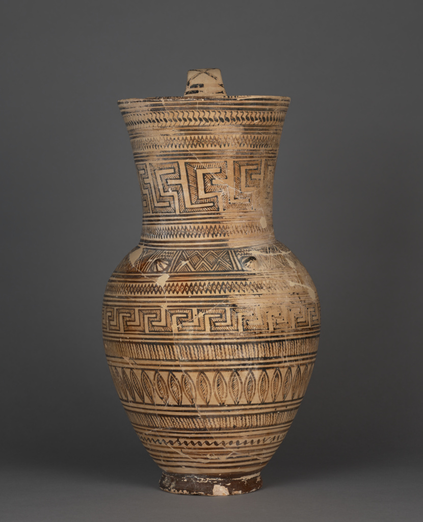 Geometric Oinochoe; Unknown; 725–700 B.C.; Terracotta; 51.3 × 27.8 cm (20 3/16 × 10 15/16 in.); 82.AE.56.1; Rights Statement: No Copyright - United States