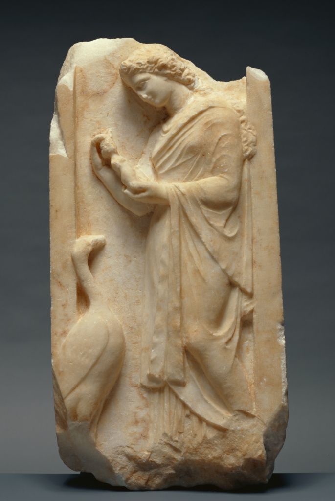 Grave Naiskos of a Young Woman; Unknown; Greece (Attica); about 360 B.C.; Marble; 72.5 × 36 × 12.5 cm, 50.1 kg (28 9/16 × 14 3/16 × 4 15/16 in., 110.5 lb.); 82.AA.135; The J. Paul Getty Museum, Villa Collection, Malibu, California, Gift of Vasek Polak; Rights Statement: No Copyright - United States