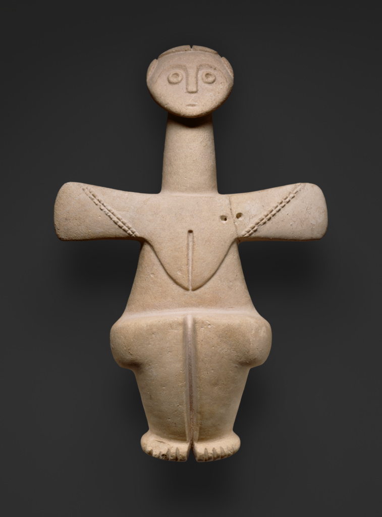 Figure of a Fertility Goddess; Unknown; 3000–2500 B.C.; Limestone; 39.1 × 26 × 42.1 cm (15 3/8 × 10 1/4 × 16 9/16 in.); 83.AA.38; Rights Statement: No Copyright - United States
