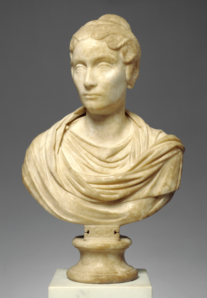 Portrait Bust of a Woman; Unknown; Rome, Lazio, Italy; A.D. 150–160; Marble; 67.5 × 42.5 × 20 cm (26 9/16 × 16 3/4 × 7 7/8 in.); 83.AA.44; The J. Paul Getty Museum, Villa Collection, Malibu, California; Rights Statement: No Copyright - United States