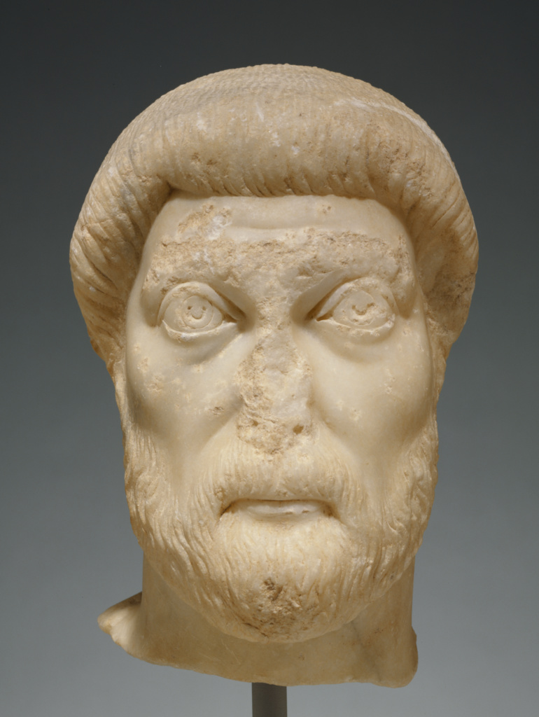 Portrait Head of a Man; Unknown; Asia Minor; mid-5th century A.D.; Marble; 28.5 × 14.5 × 22.5 cm (11 1/4 × 5 11/16 × 8 7/8 in.); 83.AA.45; The J. Paul Getty Museum, Villa Collection, Malibu, California; Rights Statement: No Copyright - United States