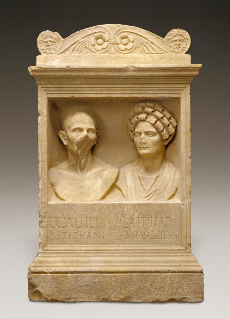 Tomb Altar for Caltilius and Caltilia; Unknown; Roman Empire; A.D. 100–125; Marble; 128 × 80 × 63.5 cm (50 3/8 × 31 1/2 × 25 in.); 83.AA.209; The J. Paul Getty Museum, Villa Collection, Malibu, California, Gift of Achille Moretti; Rights Statement: No Copyright - United States