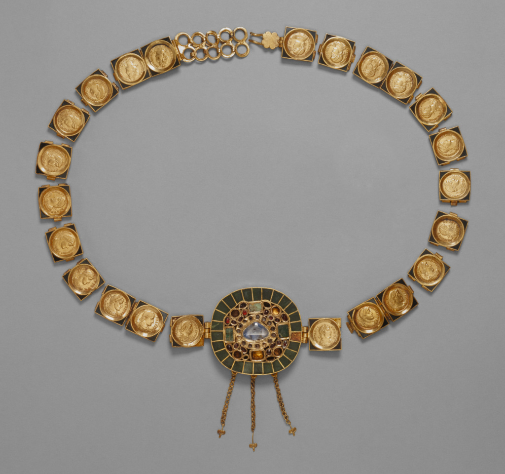 Belt with Central Medallion; Unknown; Roman Empire; about A.D. 379–395; Gold, enamel, sapphire, emerald, garnet, and glass; 79.1 cm (31 1/8 in.); 83.AM.224; The J. Paul Getty Museum, Villa Collection, Malibu, California; Rights Statement: No Copyright - United States