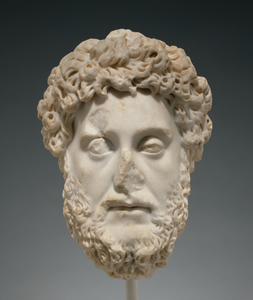 Portrait Head of Commodus; Unknown; Rome, Lazio, Italy; A.D. 182–190; Marble; 32.7 cm (12 7/8 in.); 83.AA.289; The J. Paul Getty Museum, Villa Collection, Malibu, California, Gift of Michael R. Milken; Rights Statement: No Copyright - United States