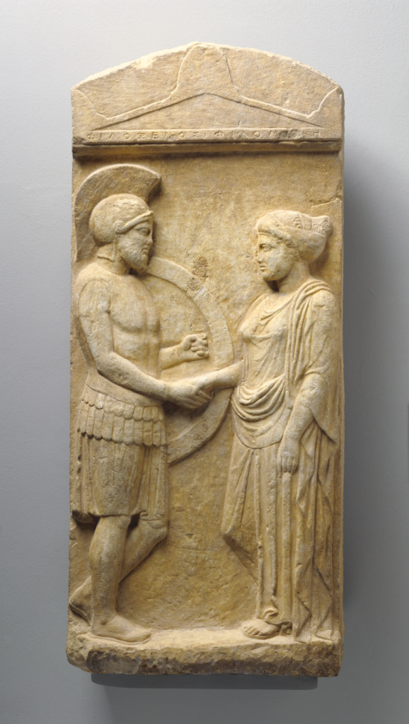 Grave Stele of Philoxenos with his Wife, Philoumene; Unknown; Greece (Attica); about 400 B.C.; Marble; 102.2 × 44.5 × 16.5 cm (40 1/4 × 17 1/2 × 6 1/2 in.); 83.AA.378; The J. Paul Getty Museum, Villa Collection, Malibu, California; Rights Statement: No Copyright - United States