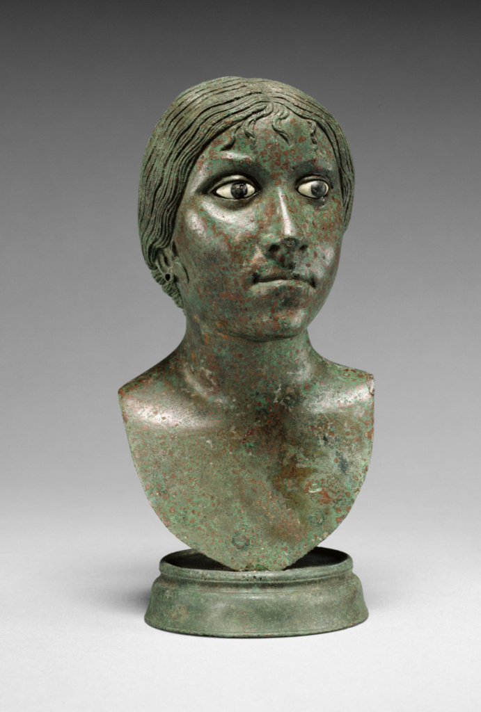 Miniature Portrait Bust of a Woman; Unknown; 25 B.C.–A.D. 25; Bronze; glass-paste; 16.5 × 6.7 cm (6 1/2 × 2 5/8 in.); 84.AB.59; The J. Paul Getty Museum, Villa Collection, Malibu, California; Rights Statement: No Copyright - United States