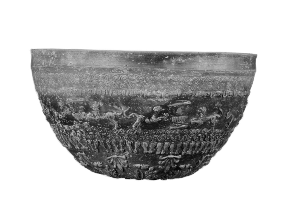 Megarian Bowl; Unknown; 150–100 B.C.; Terracotta; 10.2 × 18.3 cm (4 × 7 3/16 in.); 84.AE.712; Rights Statement: No Copyright - United States