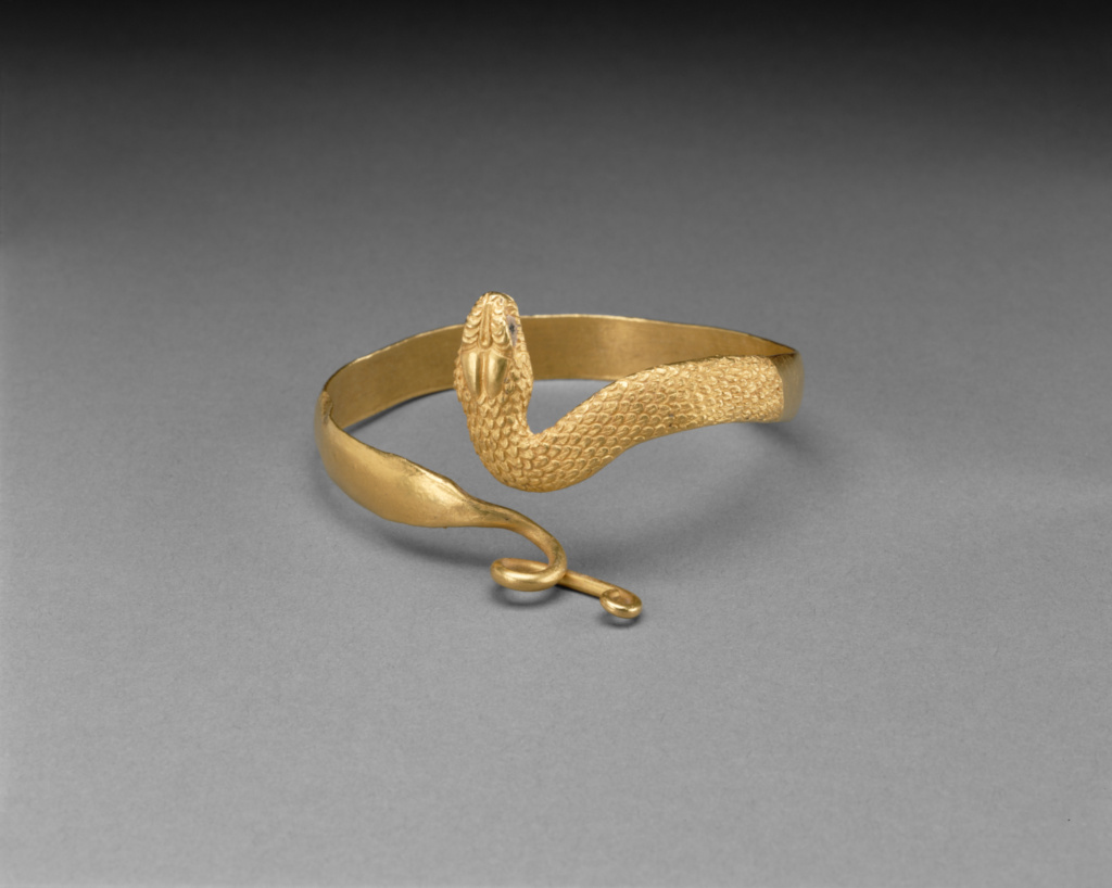 Snake Bracelet; Unknown; Egypt; 100 B.C.–A.D. 100; Gold, glass; 7.2 cm (2 13/16 in.); 84.AM.849; The J. Paul Getty Museum, Villa Collection, Malibu, California; Rights Statement: No Copyright - United States