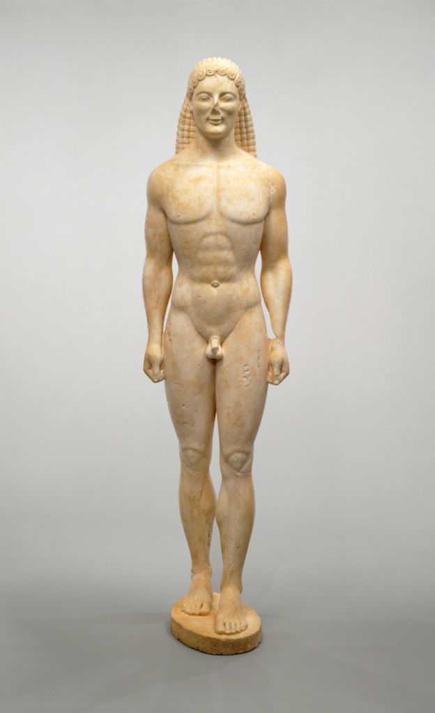 Kouros; Unknown; about 530 B.C. or modern forgery; Dolomitic marble; 206.1 × 54.6 × 51 cm (81 1/8 × 21 1/2 × 20 1/16 in.); 85.AA.40; Rights Statement: No Copyright - United States