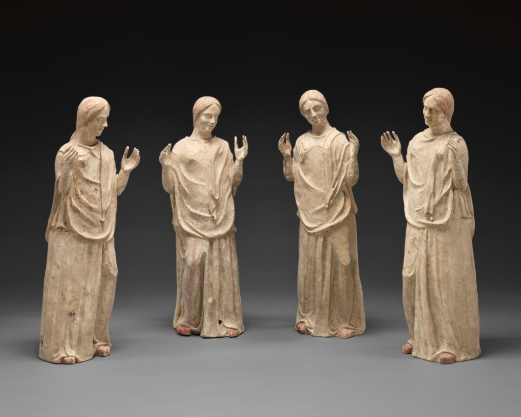 Group of Statues of Mourning Women (4); Unknown; Canosa, South Italy; 300–275 B.C.; Terracotta; 85.AD.76; The J. Paul Getty Museum, Villa Collection, Malibu, California; Rights Statement: No Copyright - United States