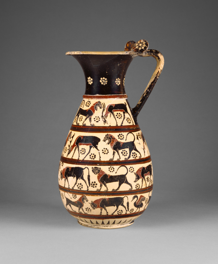 Olpe; Attributed to Painter of Malibu 85.AE.89 (namepiece); Corinth, Greece; about 625 B.C.; Terracotta; 32.8 × 17 cm (12 15/16 × 6 11/16 in.); 85.AE.89; The J. Paul Getty Museum, Villa Collection, Malibu, California; Rights Statement: No Copyright - United States