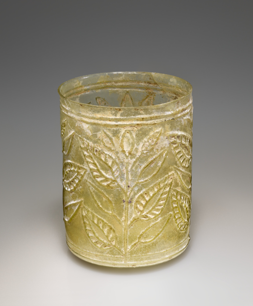 Leaf Beaker; Unknown; 1st century A.D.; Glass; 7.3 × 6.4 cm (2 7/8 × 2 1/2 in.); 85.AF.91; Rights Statement: No Copyright - United States