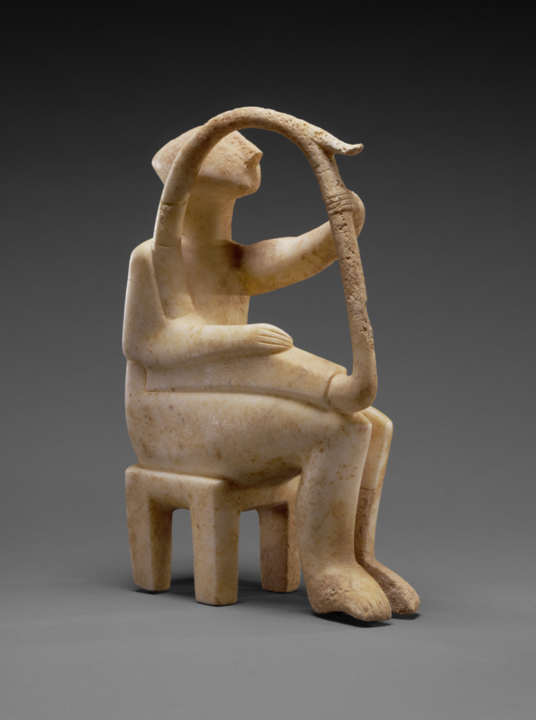 Male Harp Player of the Early Spedos Type; Unknown; Cyclades, Greece; 2700–2300 B.C.; Marble; 35.8 × 9.5 × 28.1 cm (14 1/8 × 3 3/4 × 11 1/16 in.); 85.AA.103; The J. Paul Getty Museum, Villa Collection, Malibu, California; Rights Statement: No Copyright - United States