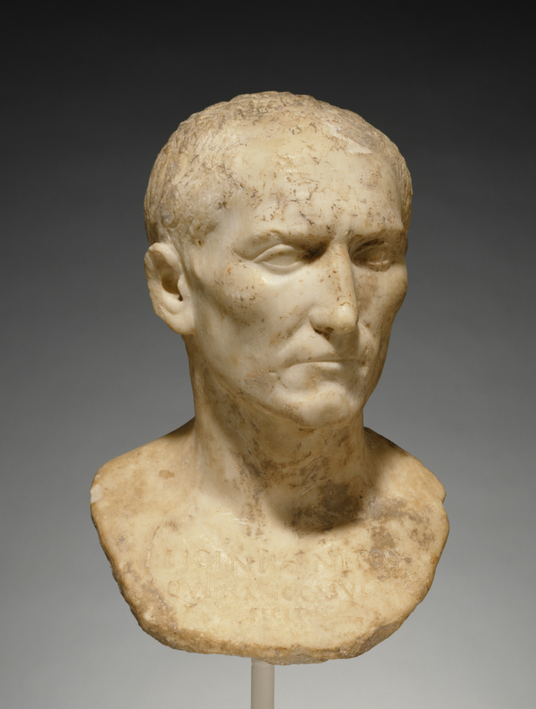 Bust of L. Licinius Nepos; Unknown; Rome, Lazio, Italy; A.D. 1–25; Marble; 37.5 × 26 × 17.5 cm (14 3/4 × 10 1/4 × 6 7/8 in.); 85.AA.111; The J. Paul Getty Museum, Villa Collection, Malibu, California; Rights Statement: No Copyright - United States