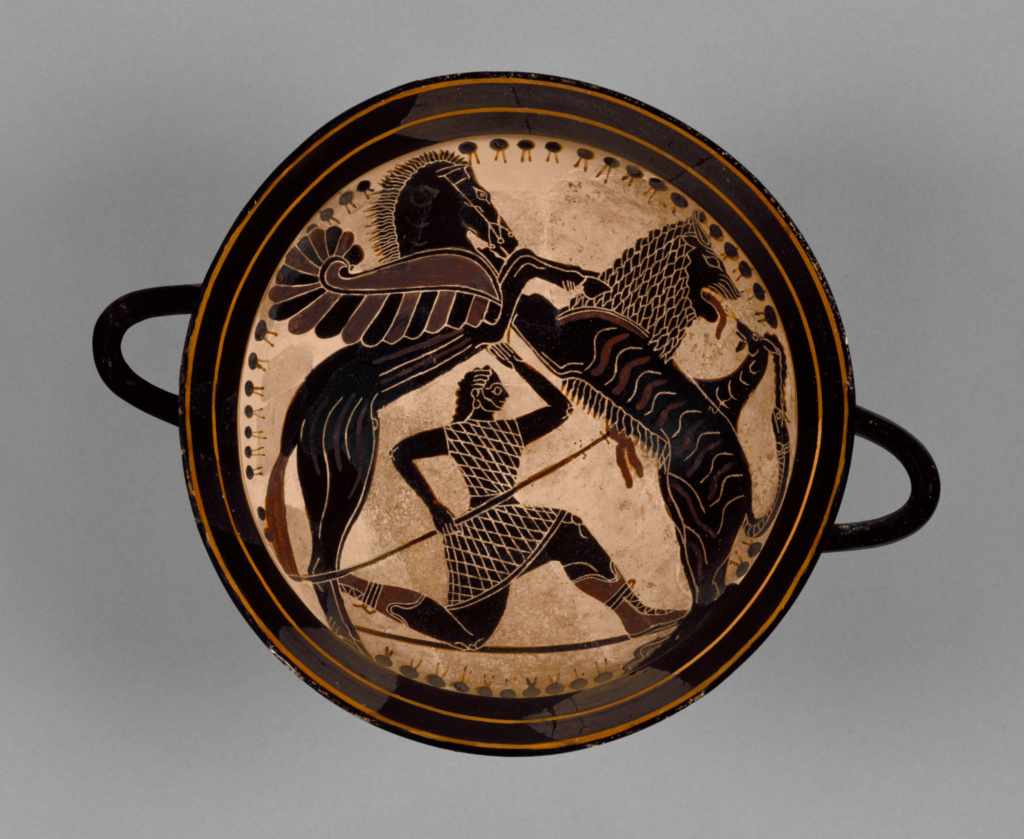 Lakonian Black-Figure Kylix; detached fragments; Attributed to Boreads Painter (Greek (Lakonian), active 575 - 550 B.C.); 570–565 B.C.; Terracotta; 12.5 × 18.4 cm (4 15/16 × 7 1/4 in.); 85.AE.121; Rights Statement: No Copyright - United States