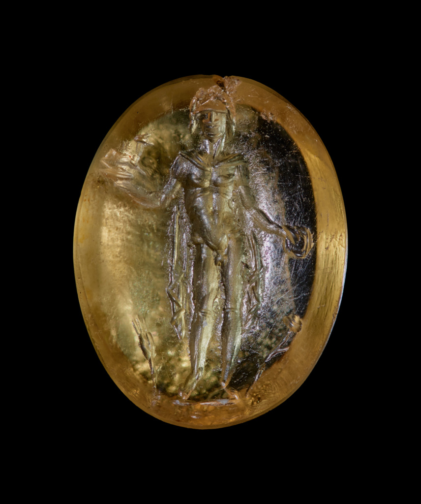Engraved Gem with Bonus Eventus; Unknown; 1st century A.D.; Citrine; 1.2 × 0.9 × 0.4 cm (7/16 × 3/8 × 1/8 in.); 85.AN.370.58; The J. Paul Getty Museum, Villa Collection, Malibu, California; Rights Statement: No Copyright - United States