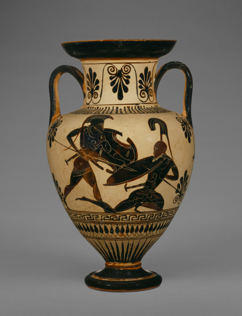 Attic Black-Figure Neck Amphora; Unknown, Connected with the Class of Cabinet des Médailles 218 (Greek); Athens, Greece; about 500–480 B.C.; Terracotta; 23.4 × 15.5 cm (9 3/16 × 6 1/8 in.); 86.AE.78; The J. Paul Getty Museum, Villa Collection, Malibu, California; Rights Statement: No Copyright - United States