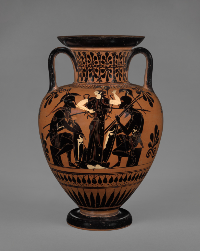 Attic Black-Figure Neck Amphora; Attributed to Leagros Group (Greek (Attic), active 525 - 500 B.C.); Athens, Greece; about 510 B.C.; Terracotta; 30.4 × 45.3 cm (11 15/16 × 17 13/16 in.); 86.AE.81; The J. Paul Getty Museum, Villa Collection, Malibu, California; Rights Statement: No Copyright - United States
