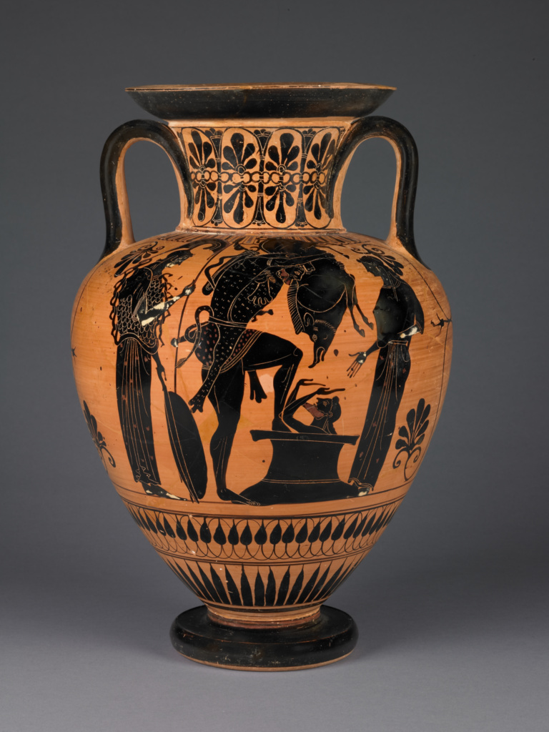 Attic Black-Figure Amphora; Attributed to Leagros Group (Greek (Attic), active 525 - 500 B.C.); Athens, Greece; about 510 B.C.; Terracotta; 43 × 28.2 cm (16 15/16 × 11 1/8 in.); 86.AE.83; The J. Paul Getty Museum, Villa Collection, Malibu, California; Rights Statement: No Copyright - United States
