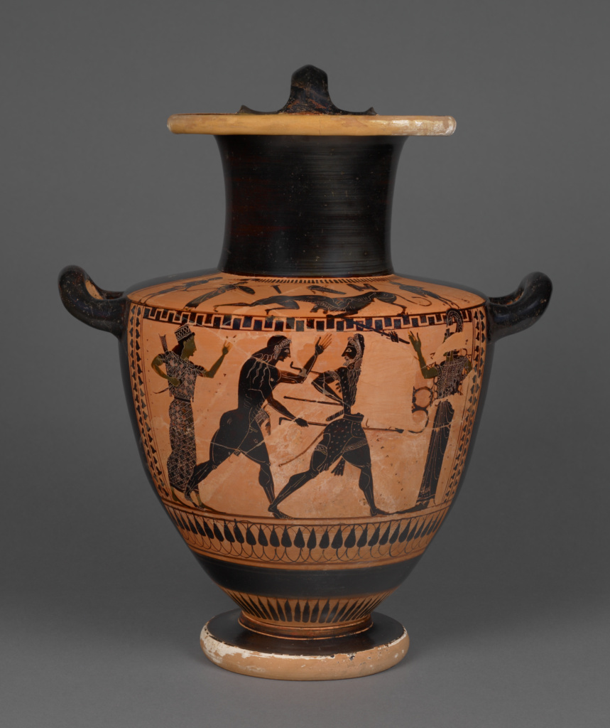 Attic Black-Figure Hydria; Attributed to Lykomedes Painter (Greek (Attic)); Athens, Greece; 520–510 B.C.; Terracotta; 37 × 33 × 25.2 cm (14 9/16 × 13 × 9 15/16 in.); 86.AE.114; The J. Paul Getty Museum, Villa Collection, Malibu, California; Rights Statement: No Copyright - United States