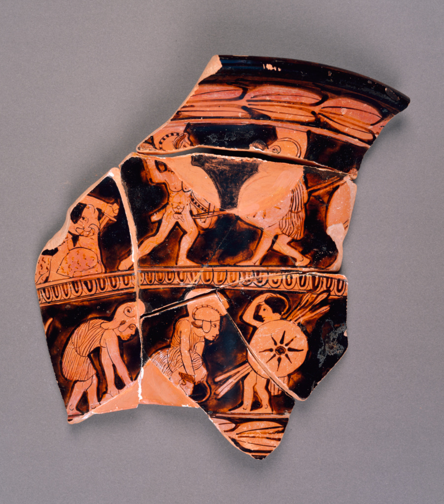 Attic Red-Figure Calyx Krater Fragment; Unknown; Athens, Greece; about 430 B.C.; Terracotta; 86.AE.213; The J. Paul Getty Museum, Villa Collection, Malibu, California; Rights Statement: No Copyright - United States