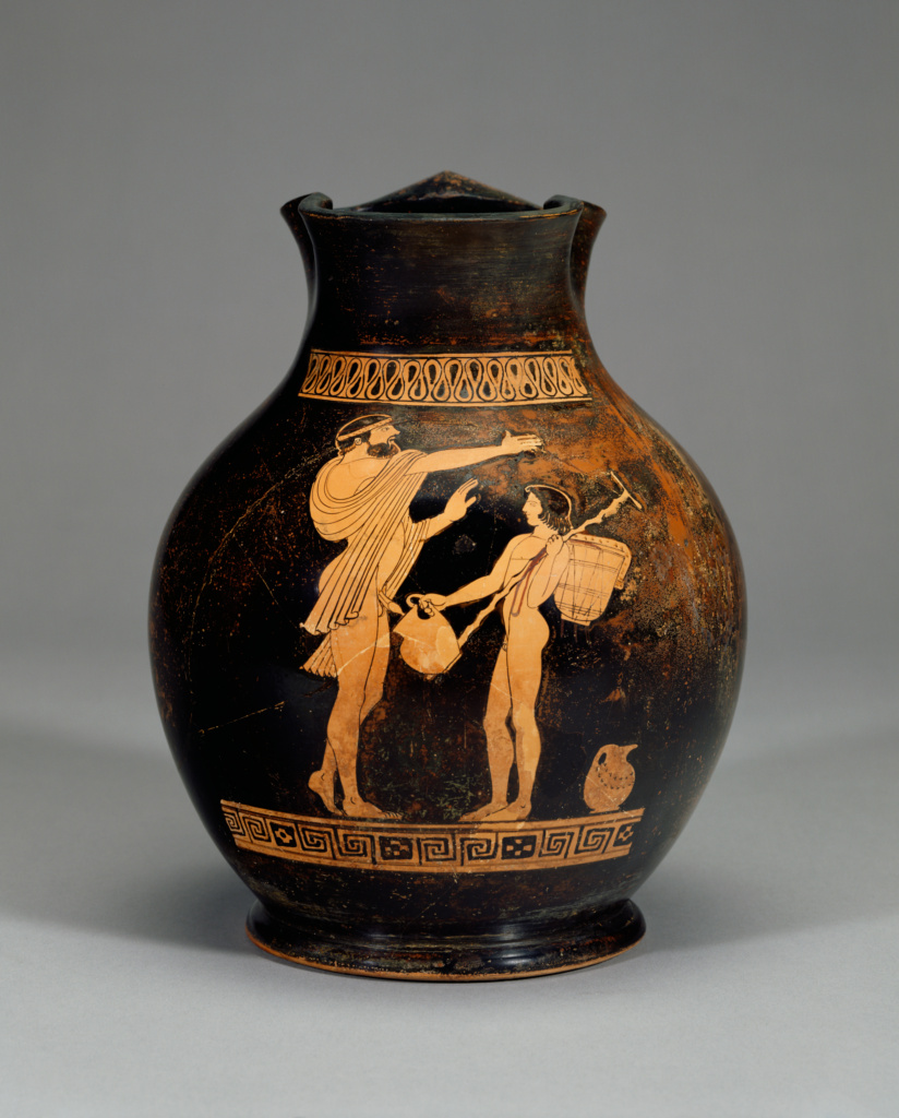 Attic Red-Figure Oinochoe, Shape 3 (Chous); Attributed to Oionokles Painter (Greek (Attic), active about 470 B.C.); Athens, Greece; about 470 B.C.; Terracotta; 23 × 18.6 cm (9 1/16 × 7 5/16 in.); 86.AE.237; The J. Paul Getty Museum, Villa Collection, Malibu, California; Rights Statement: No Copyright - United States