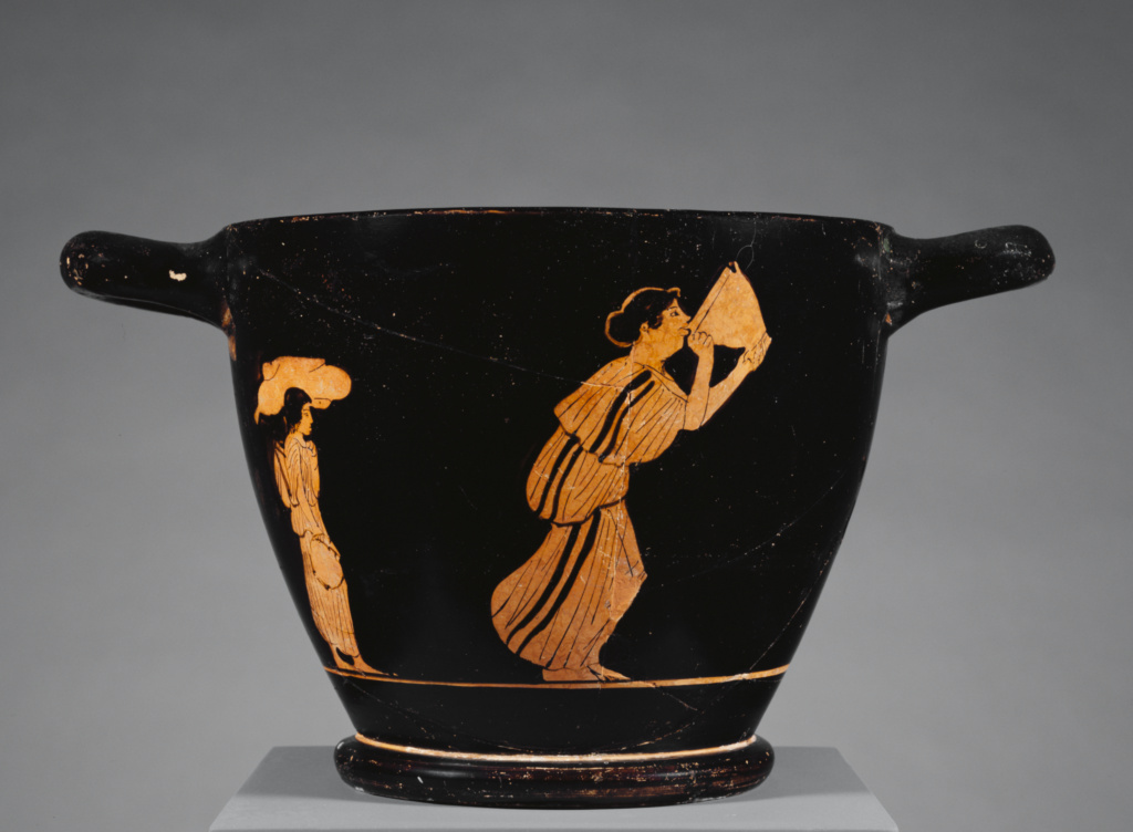Attic Red-Figure Skyphos; Unknown; Athens, Greece; 460–450 B.C.; Terracotta; 15.3 × 27.5 × 17.9 cm (6 × 10 13/16 × 7 1/16 in.); 86.AE.265; The J. Paul Getty Museum, Villa Collection, Malibu, California; Rights Statement: No Copyright - United States
