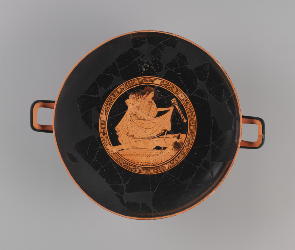 Attic Red-Figured Kylix; Attributed to the Brygos Painter (Greek (Attic), active about 490 - 470 B.C.); Athens, Greece; 490–480 B.C.; Terracotta; 11.2 × 39.1 × 31.4 cm (4 7/16 × 15 3/8 × 12 3/8 in.); 86.AE.286; The J. Paul Getty Museum, Villa Collection, Malibu, California; Rights Statement: No Copyright - United States