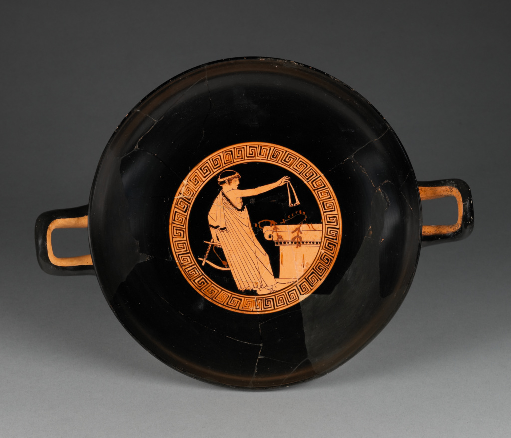 Attic Red-Figure Cup; Attributed to Brygos Painter (Greek (Attic), active about 490 - 470 B.C.); Athens, Greece; about 480 B.C.; Terracotta; 9.2 × 30.2 × 23 cm (3 5/8 × 11 7/8 × 9 1/16 in.); 86.AE.288; The J. Paul Getty Museum, Villa Collection, Malibu, California; Rights Statement: No Copyright - United States