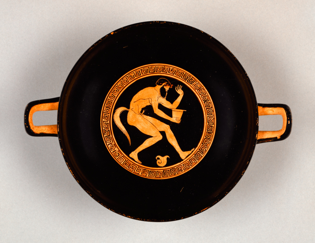 Attic Red-Figure Cup; Makron (Greek (Attic), active about 490 - 480 B.C.); Athens, Greece; about 480 B.C.; Terracotta; 8.2 × 25.9 × 19.4 cm (3 1/4 × 10 3/16 × 7 5/8 in.); 86.AE.291; The J. Paul Getty Museum, Villa Collection, Malibu, California; Rights Statement: No Copyright - United States