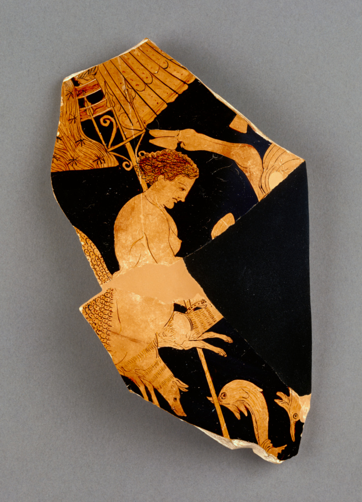 Fragment of an Apulian Red-Figure Bell Krater; Black Fury Group (Greek (Apulian), active early 300s B.C.); Apulia, South Italy; about 375–350 B.C.; Terracotta; 19 × 18.5 cm (7 1/2 × 7 5/16 in.); 86.AE.417; The J. Paul Getty Museum, Villa Collection, Malibu, California; Rights Statement: No Copyright - United States