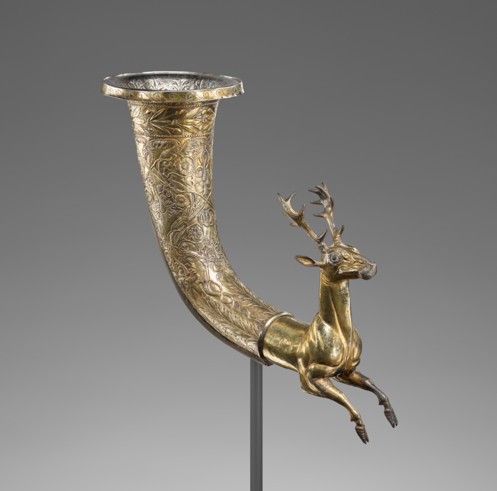 Stag Rhyton; Unknown; Eastern Seleucid Empire; 100–1 B.C.; Gilt silver, garnet, glass; 27.5 × 46 × 12.7 cm (10 13/16 × 18 1/8 × 5 in.); 86.AM.753; The J. Paul Getty Museum, Villa Collection, Malibu, California; Rights Statement: No Copyright - United States