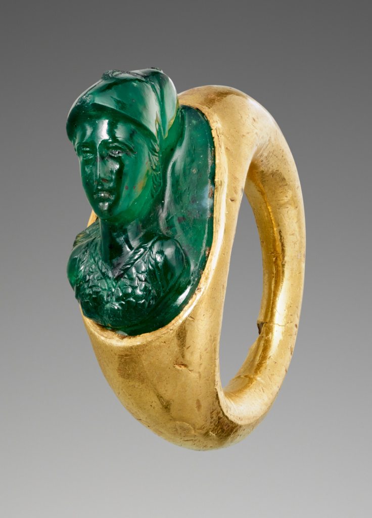 Cameo Gem with Minerva set into a Hollow Ring; Unknown; 1st century A.D.; Gem: chrome chalcedony; ring: gold; 1.8 × 1.1 × 1.3 cm (3/4 × 7/16 × 1/2 in.); 88.AN.13; The J. Paul Getty Museum, Villa Collection, Malibu, California; Rights Statement: No Copyright - United States