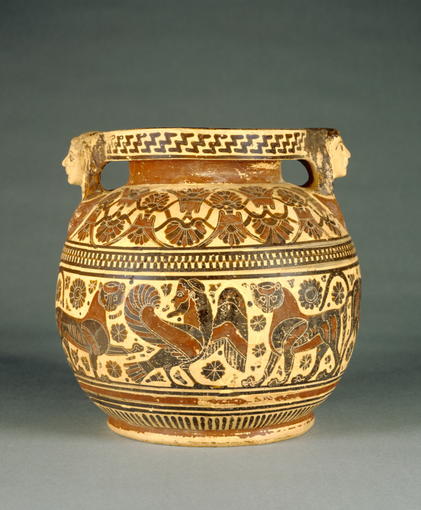 Corinthian Round-Bodied Pyxis; Perhaps by the Chimaera Painter (Greek (Corinthian), active 600 - 575 B.C.); Greece (Corinth); about 570 B.C.; Terracotta; 21.7 × 22.2 cm (8 9/16 × 8 3/4 in.); 88.AE.105; The J. Paul Getty Museum, Villa Collection, Malibu, California; Rights Statement: No Copyright - United States