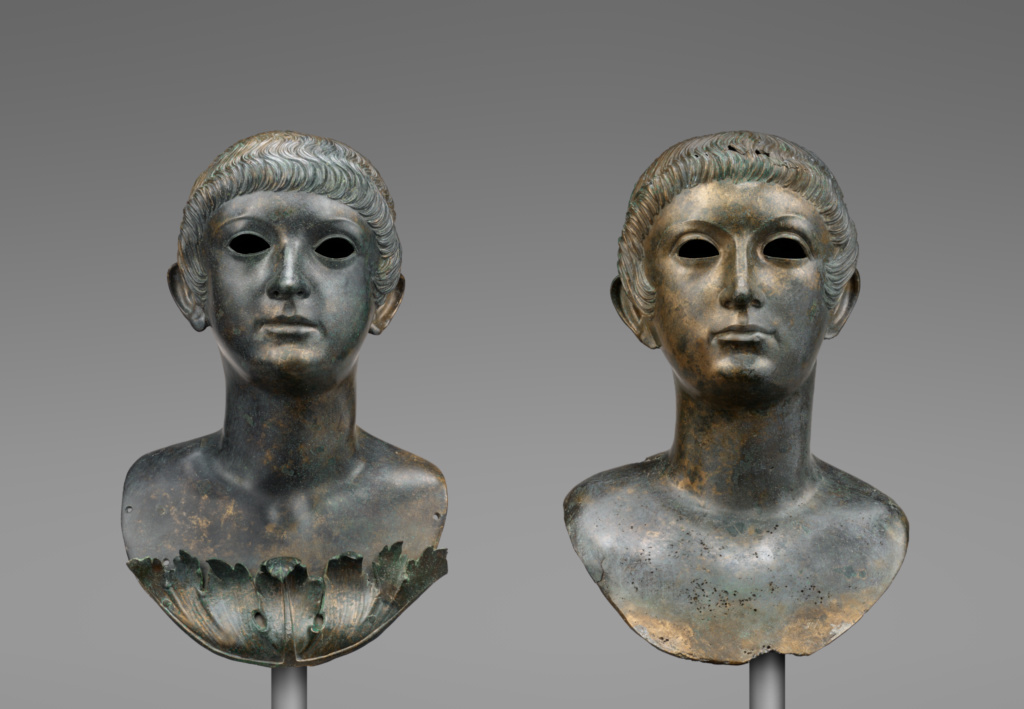 Pair of Portrait Busts of Youths and an Unrelated Pair of Marble Eyes; Unknown; A.D. 60–70; Bronze and marble; 89.AB.67; Rights Statement: No Copyright - United States